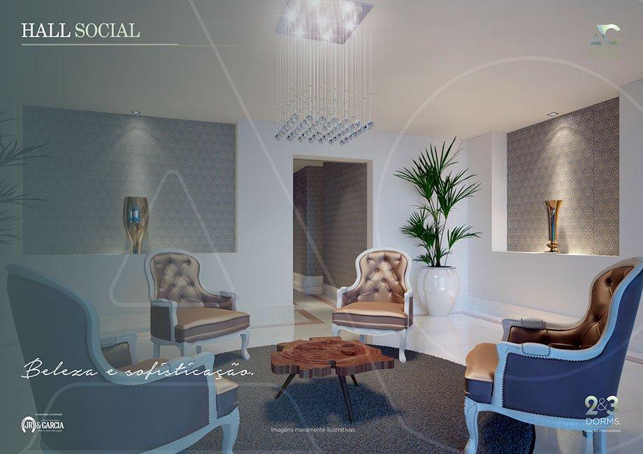 Hall Social - Residencial Antônio Carvalho - Praia Grande