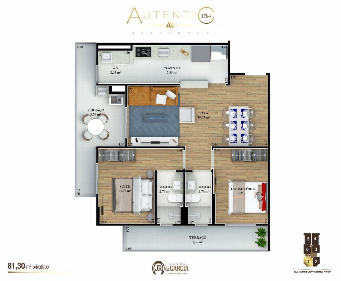 Apartamentos Final 1 - 81,30 m² - Autentic 154 Residence - Canto do Forte - Praia Grande SP