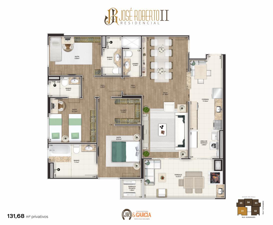 Apartamento Final 1 - 3 dorm. (3 suítes) - 131,68 m² - Residencial José Roberto II - Praia Grande SP