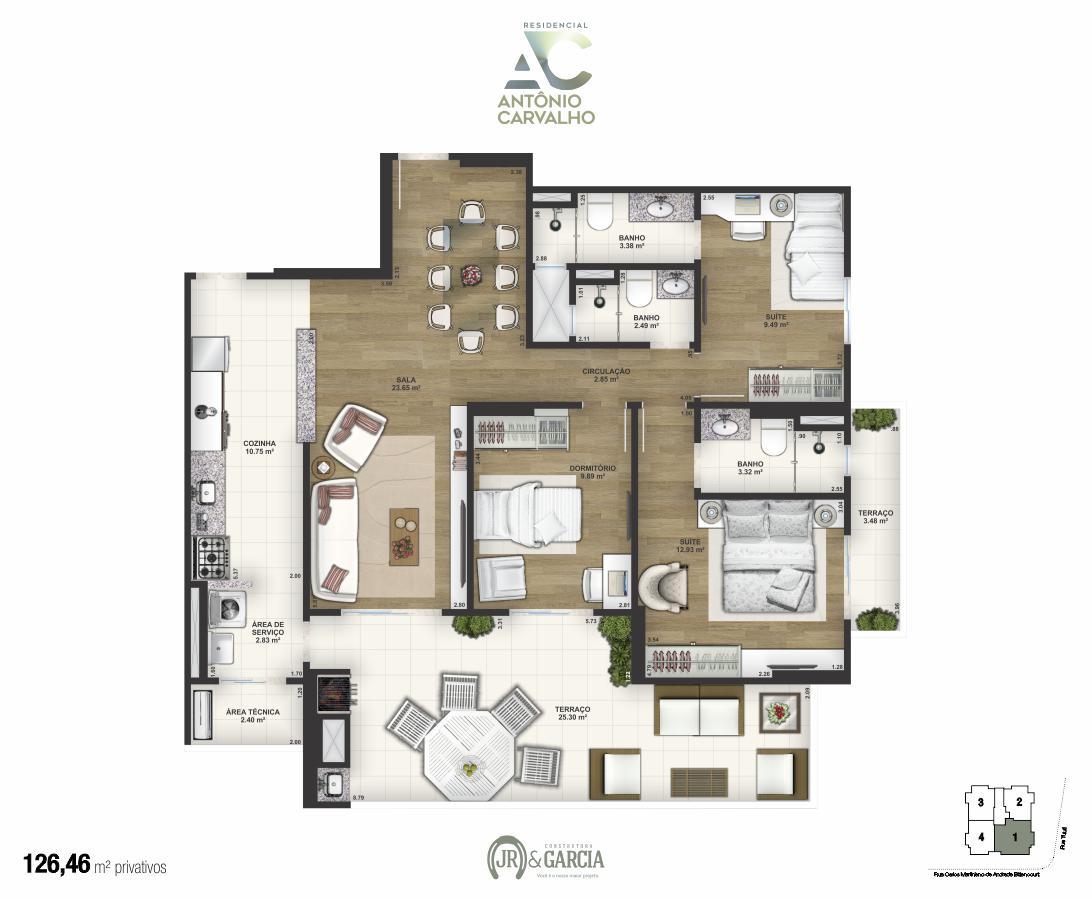 Apartamento final 1 - 126,46m² - Residencial Antônio Carvalho - Praia Grande SP