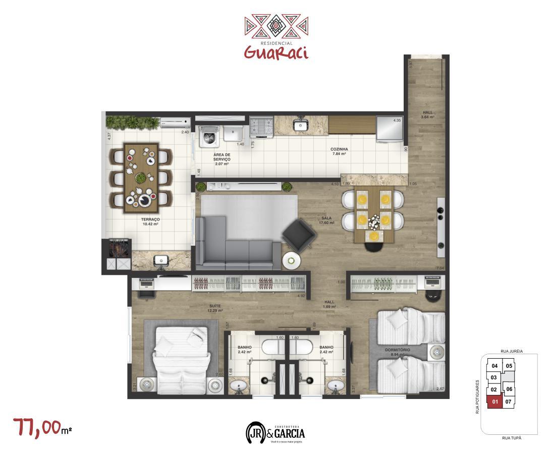 Apartamento 11-171 - 77,00 m² - Residencial Guaraci - Praia Grande SP