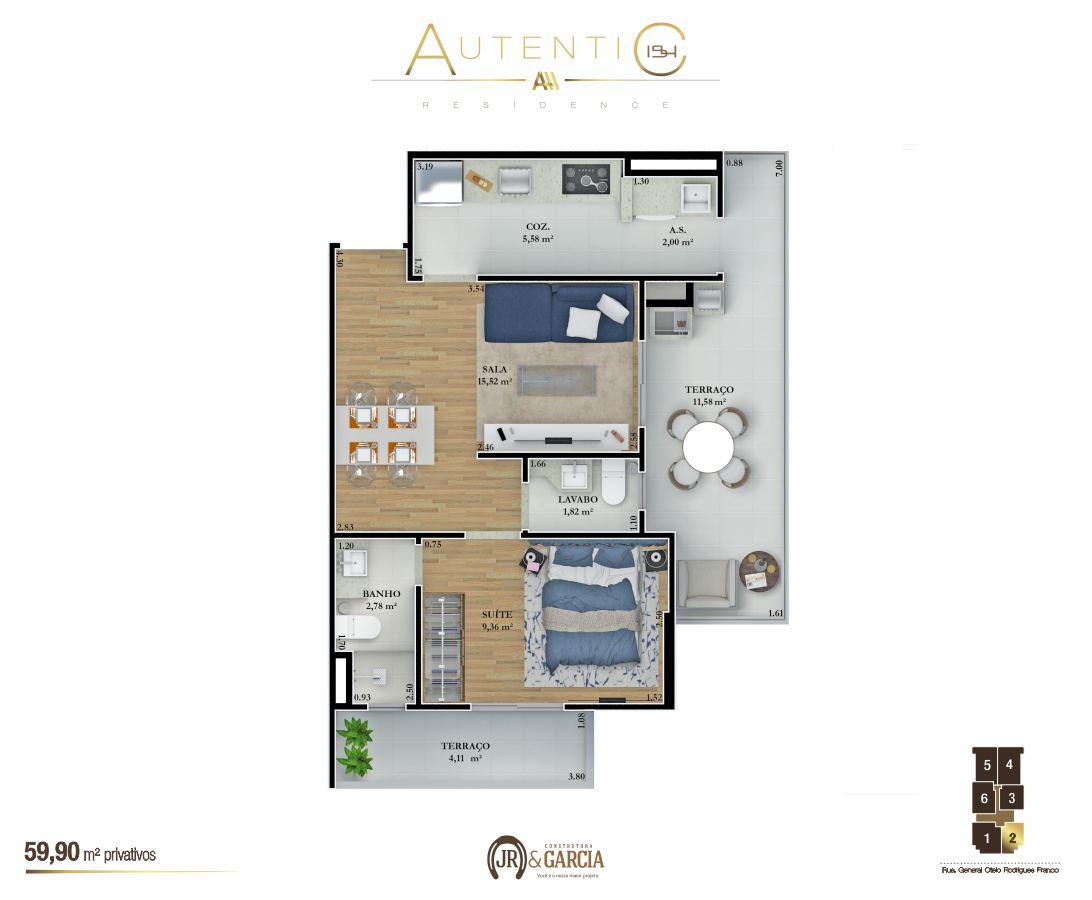 Apartamentos Final 2 - 59,90 m² - Autentic 154 Residence - Canto do Forte - Praia Grande SP