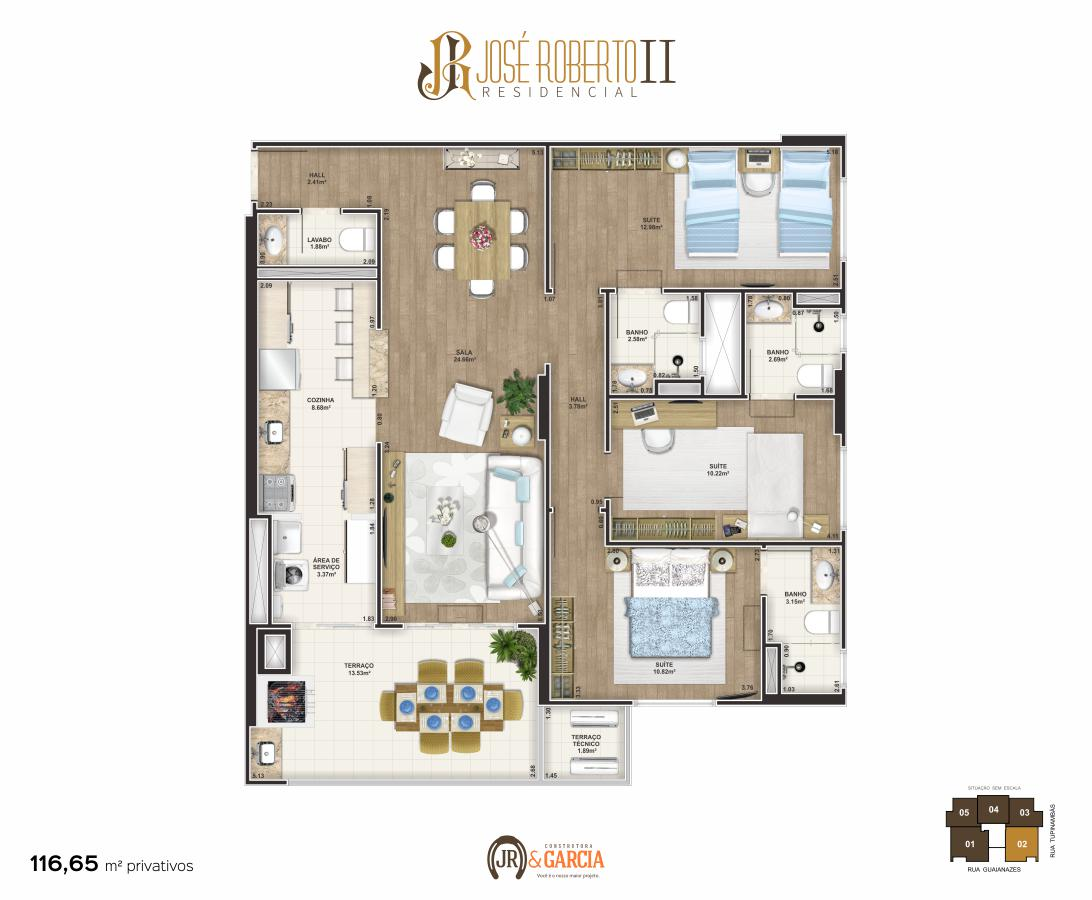 Apartamento Final 2 - 3 dorm. (3 suítes) - 116,65 m² - Residencial José Roberto II - Praia Grande SP