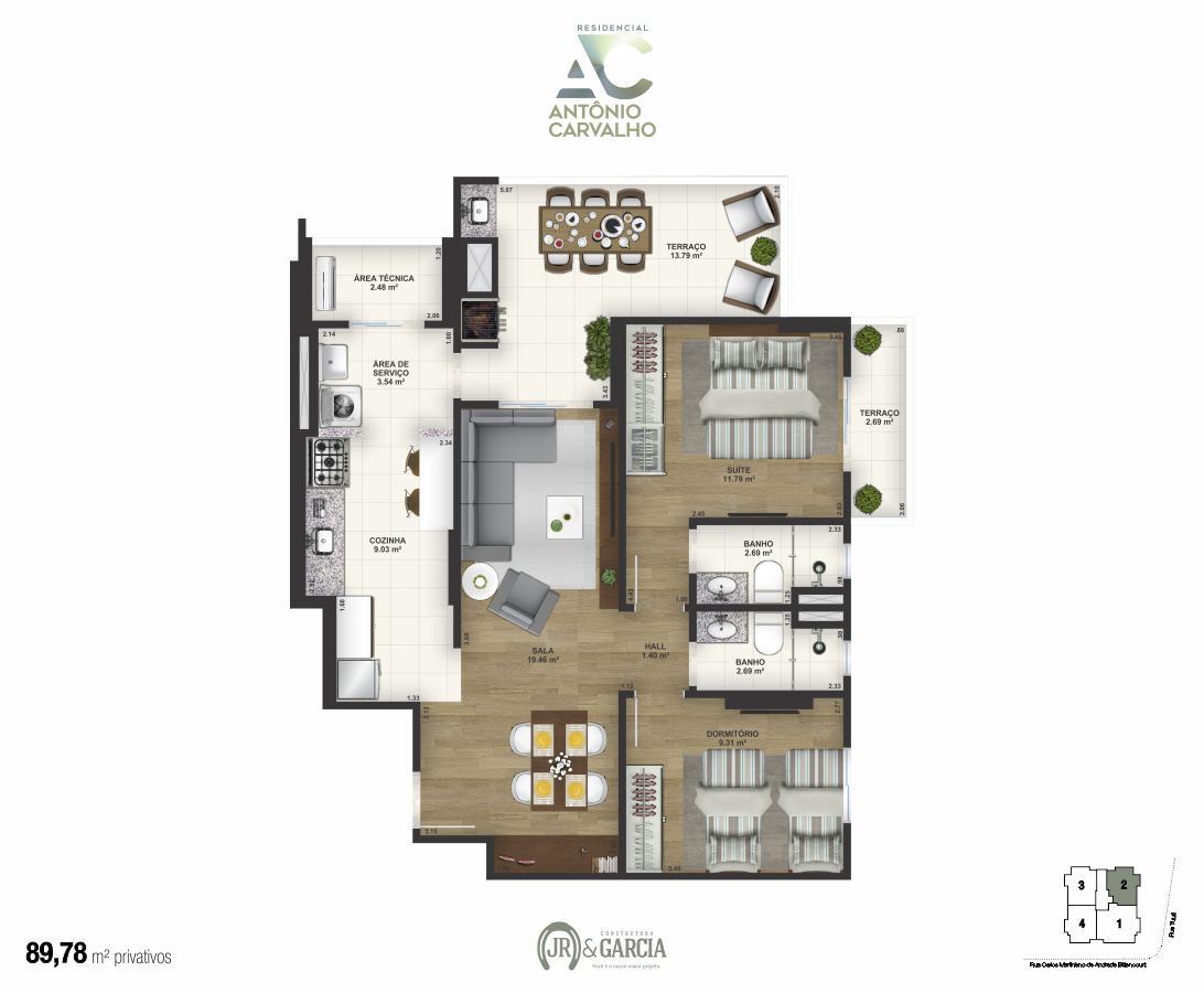 Apartamento Final 2 - 89,78m²- Residencial Antônio Carvalho - Praia Grande SP