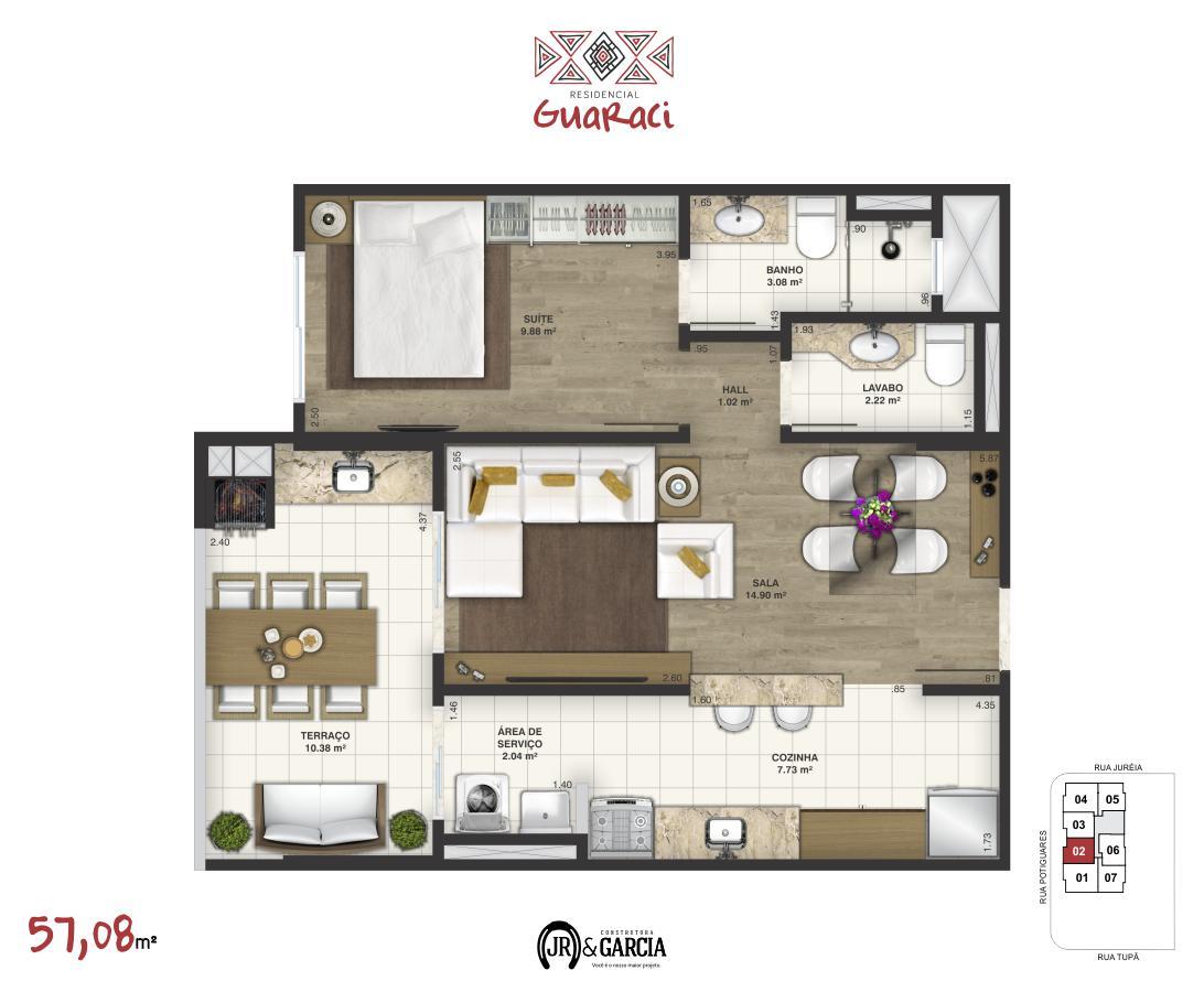Apartamento 12-172 - 57,08 m² - Residencial Guaraci - Praia Grande SP