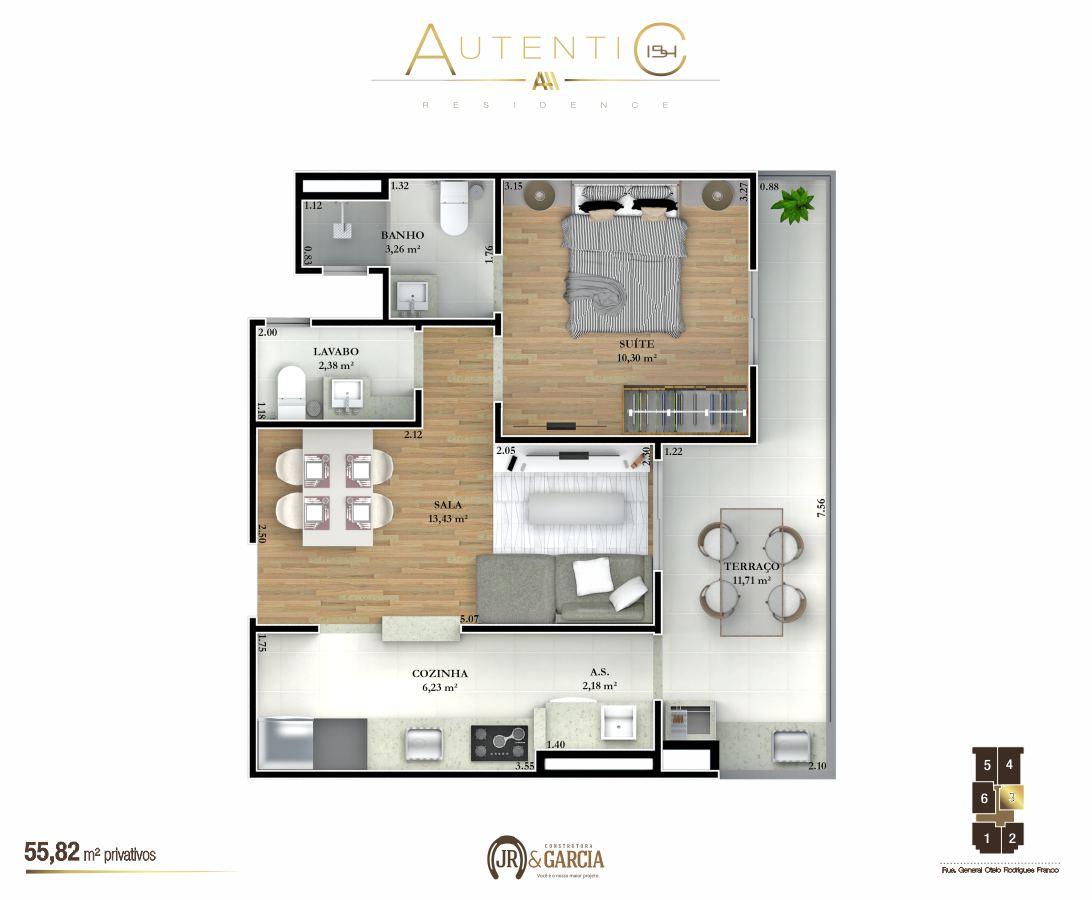 Apartamentos Final 3 - 55,82 m² - Autentic 154 Residence - Canto do Forte - Praia Grande SP
