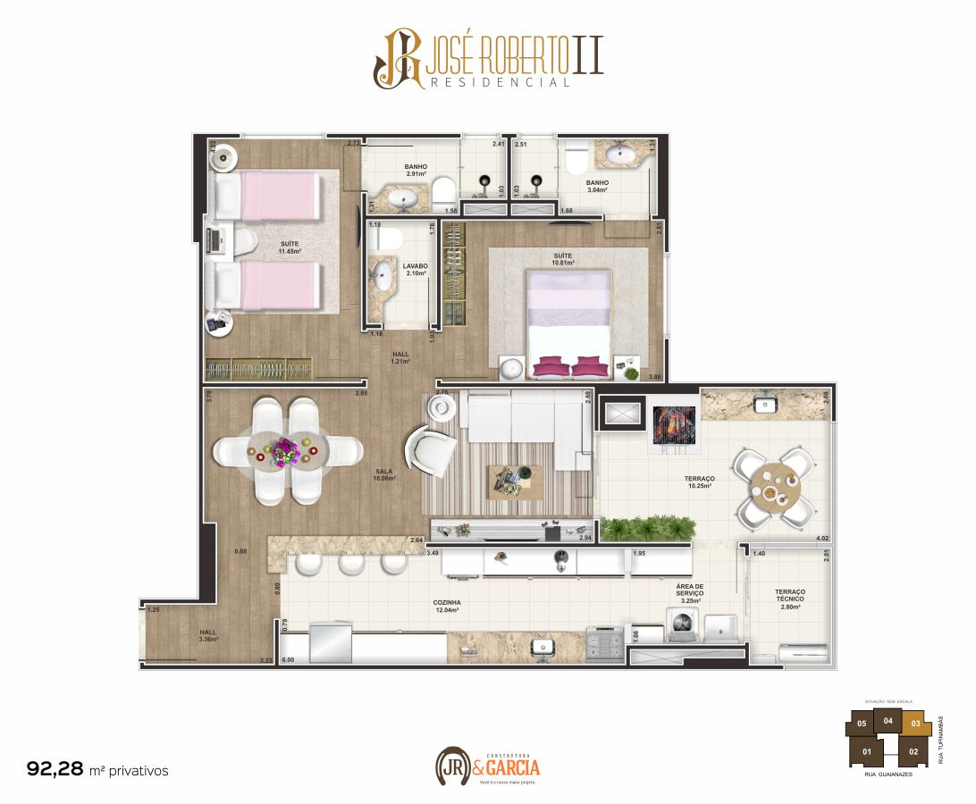 Apartamento Final 3 - 2 dorm. (2 suítes) - 92,28 m² - Residencial José Roberto II - Praia Grande SP