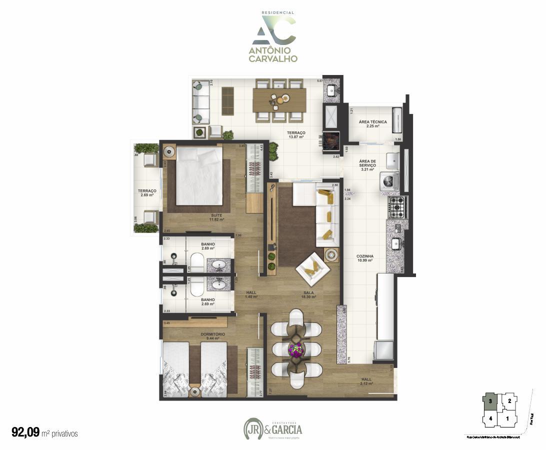 Apartamento Final 3 - 92,09m² - Residencial Antônio Carvalho - Praia Grande SP