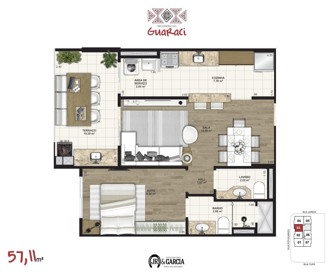 Apartamento 13-173 - 57,11 m² - Residencial Guaraci - Praia Grande SP