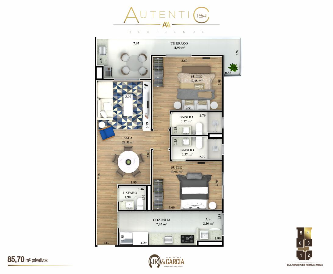 Apartamentos Final 4 - 85,70 m² - Autentic 154 Residence - Canto do Forte - Praia Grande SP