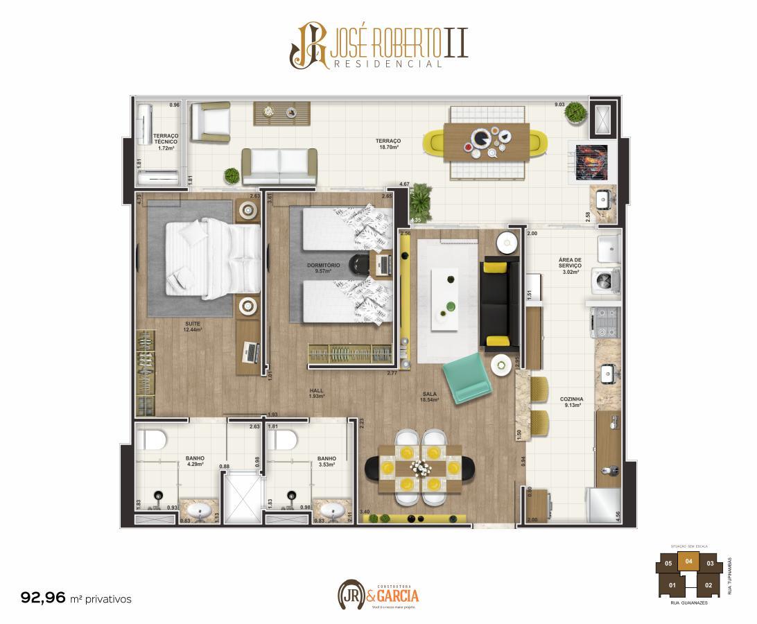 Apartamento Final 4 - 2 dorm. (1 suíte) - 92,96 m² - Residencial José Roberto II - Praia Grande SP
