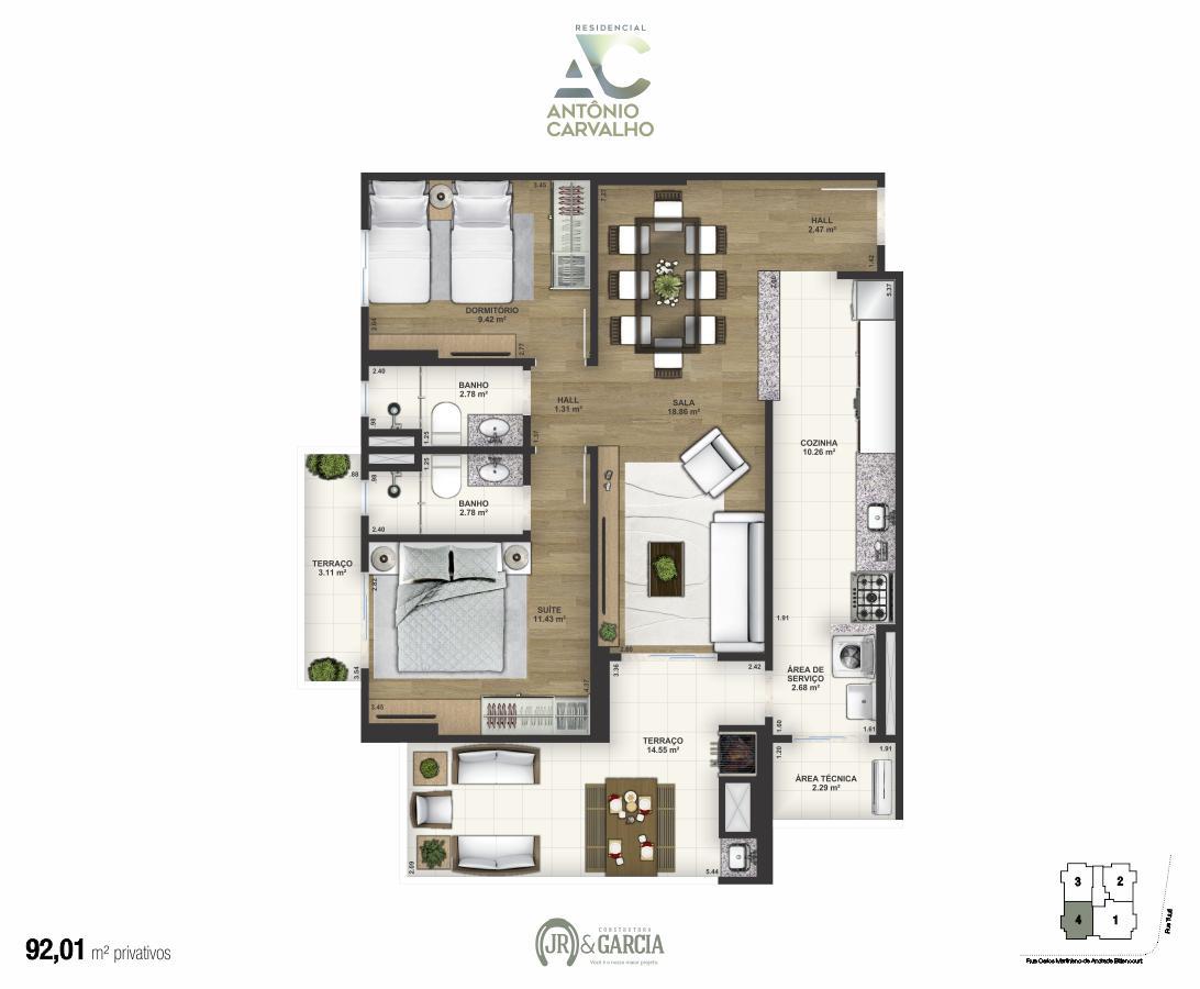 Apartamento Final 4 - 92,01m² - Residencial Antônio Carvalho - Praia Grande SP