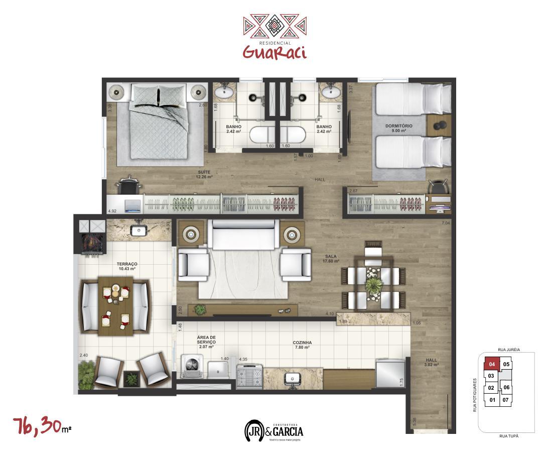Apartamento 14-174 - 76,30 m² - Residencial Guaraci - Praia Grande SP