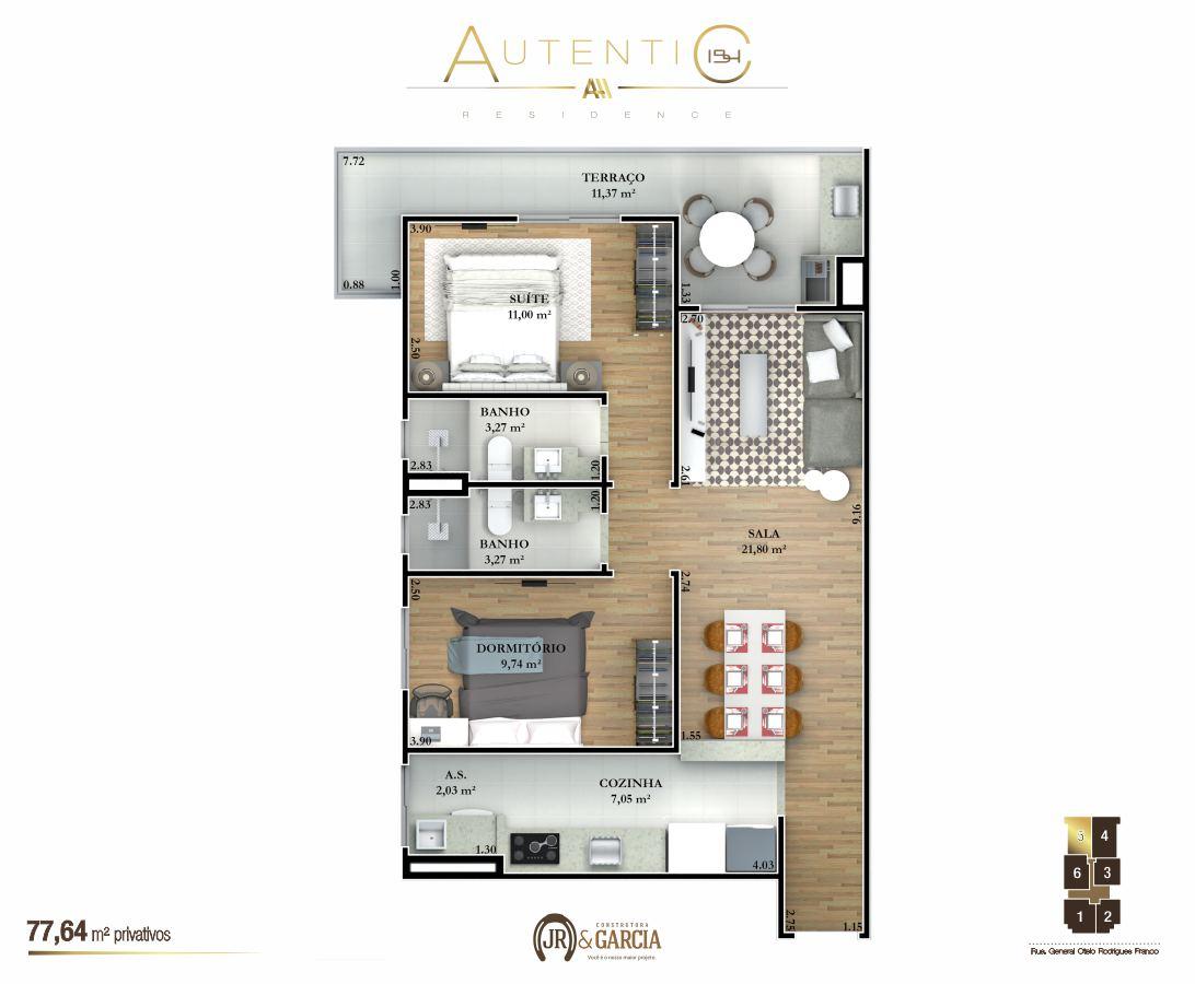 Apartamentos Final 5 - 77,64 m² - Autentic 154 Residence - Canto do Forte - Praia Grande SP