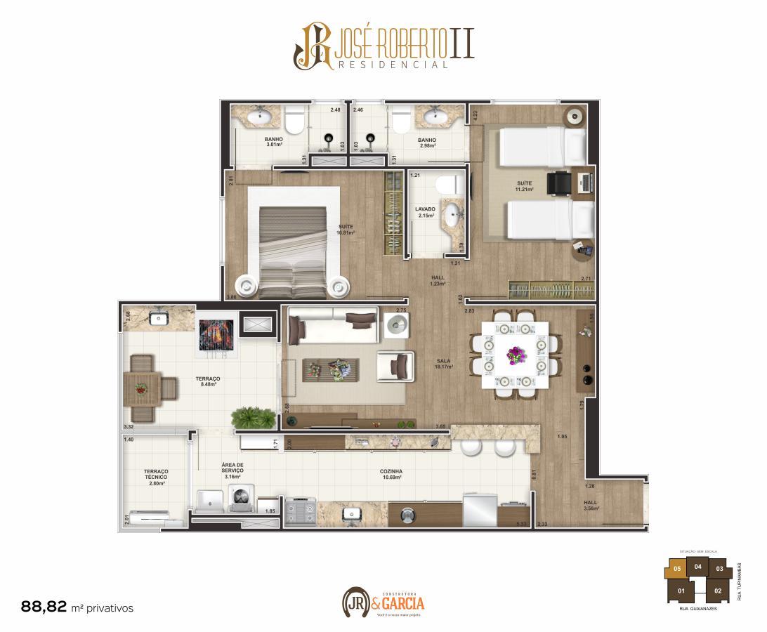 Apartamento Final 5 - 2 dorm. (2 suítes) - 88,92 m² - Residencial José Roberto II - Praia Grande SP