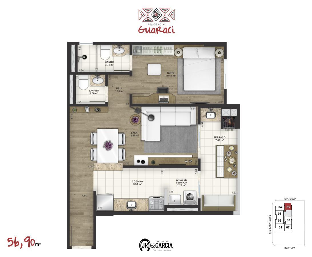 Apartamento 15-175 - 56,90 m² - Residencial Guaraci - Praia Grande SP