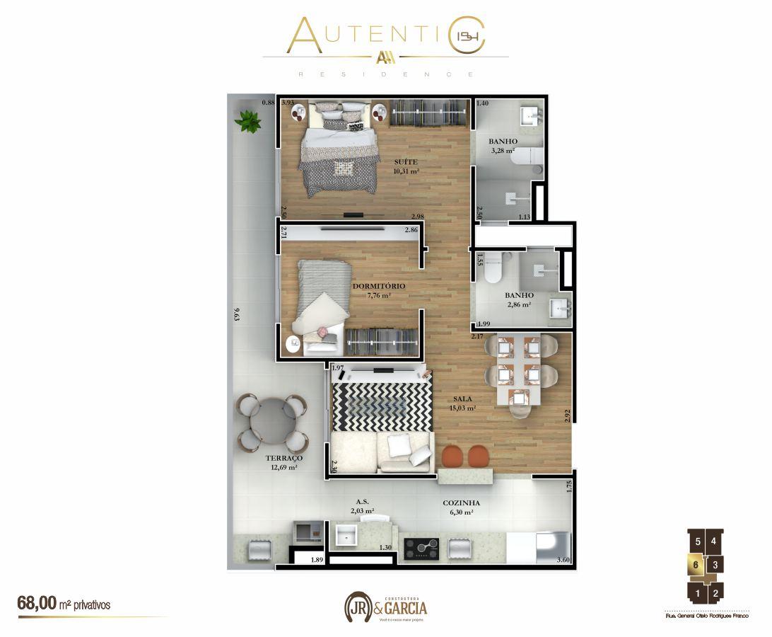 Apartamentos Final 6 - 68,00 m² - Autentic 154 Residence - Canto do Forte - Praia Grande SP