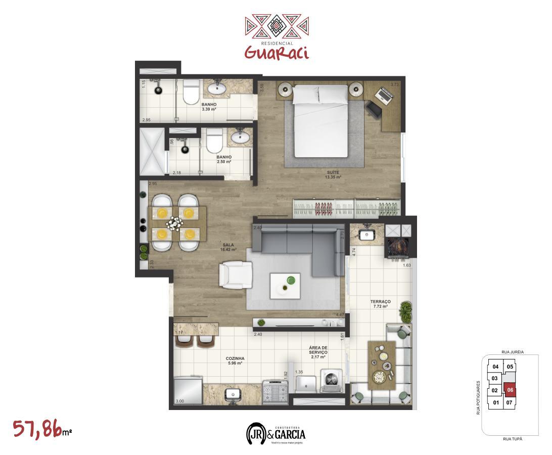 Apartamento 16-176 - 57,86 m² - Residencial Guaraci - Praia Grande SP