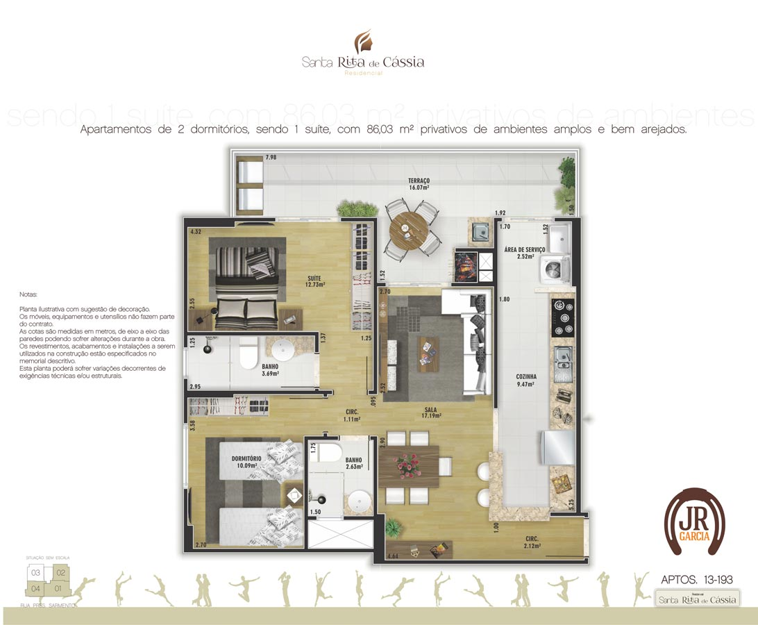 Planta Final 3: 86,03m² - Residencial Santa Rita de Cássia - Praia Grande SP