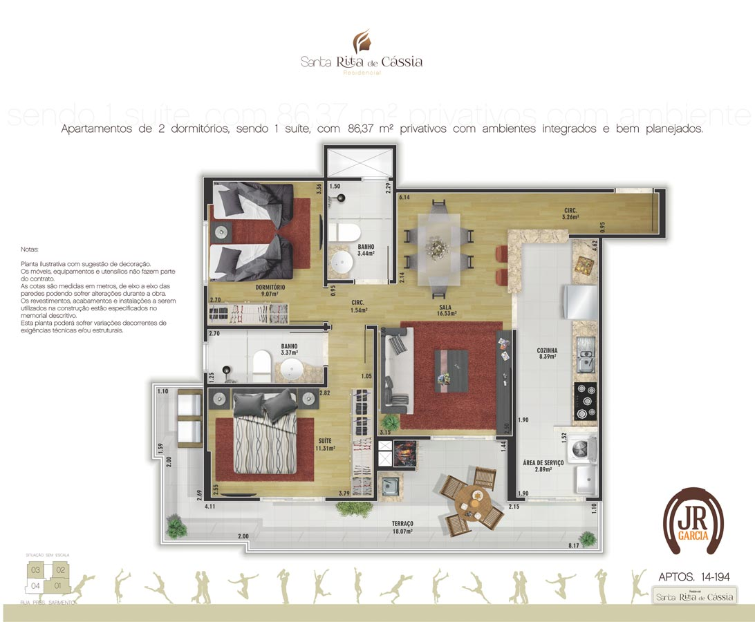 Apartamento Final 4: 86,37m² - Residencial Santa Rita de Cássia - Praia Grande SP