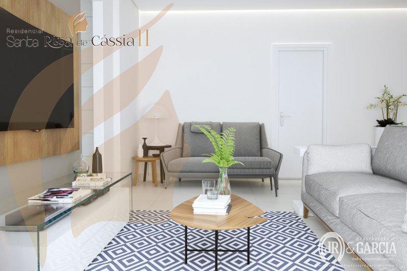Sala - Apartamento 3 dormitórios - Residencial Santa Rita de Cássia II - Aviação, Praia Grande