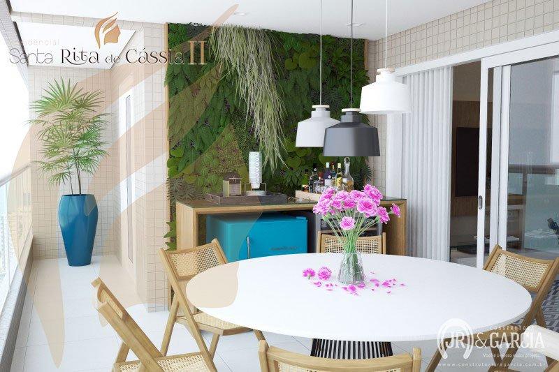 Terraço - Apartamento 3 dormitórios - Residencial Santa Rita de Cássia II - Aviação, Praia Grande
