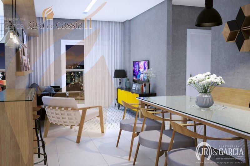 Sala - Apartamento 2 dormitórios - Residencial Santa Rita de Cássia II - Aviação, Praia Grande