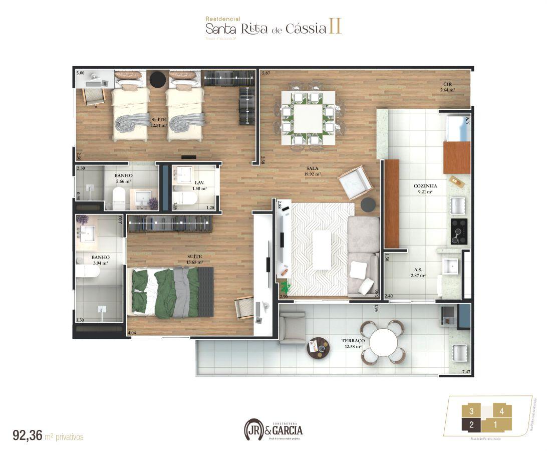 Apartamento Final 2 - 92,36 m² - Residencial Santa Rita de Cássia II - Praia Grande SP