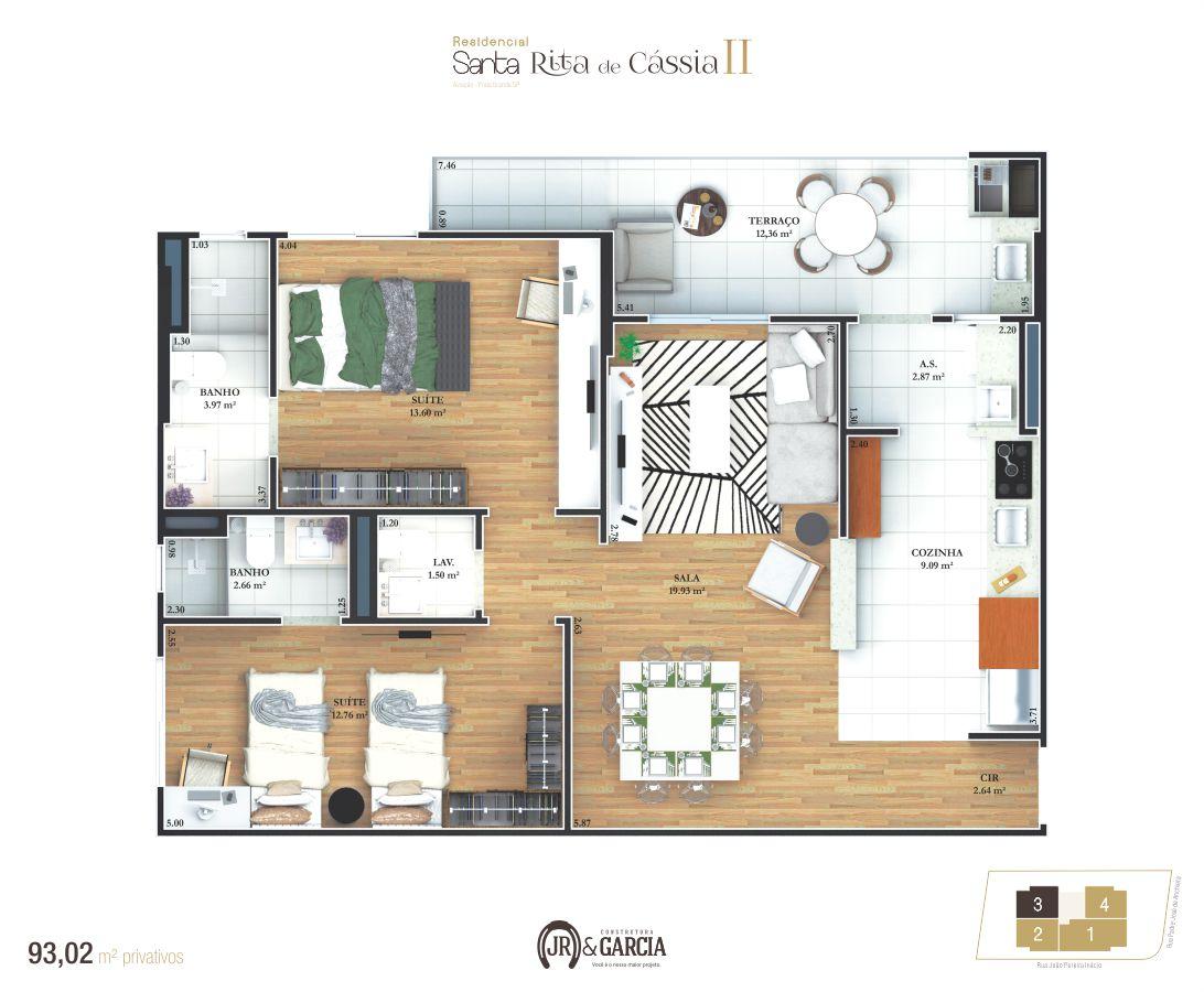 Apartamento Final 3 - 93,02 m² - Residencial Santa Rita de Cássia II - Praia Grande SP