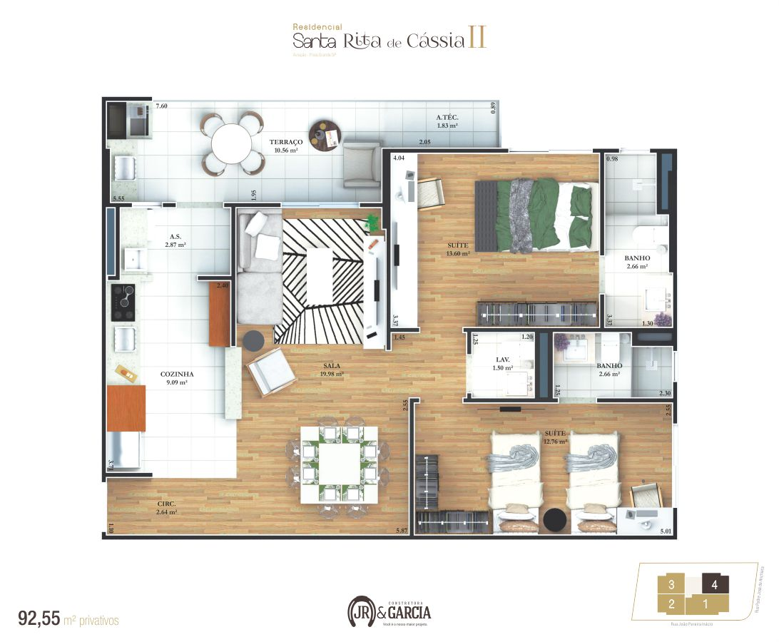 Apartamento Final 4 - 92,55 m² - Residencial Santa Rita de Cássia II - Praia Grande SP