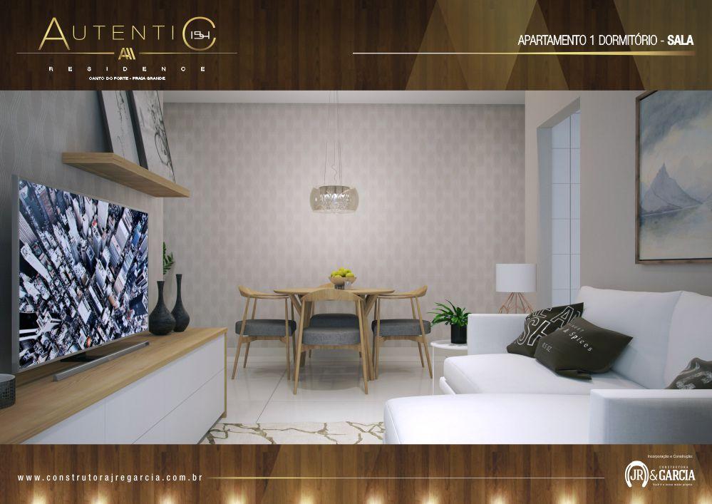 Sala Apartamento 1 Dormitório - Autentic 154 Residence - Canto do Forte, Praia Grande