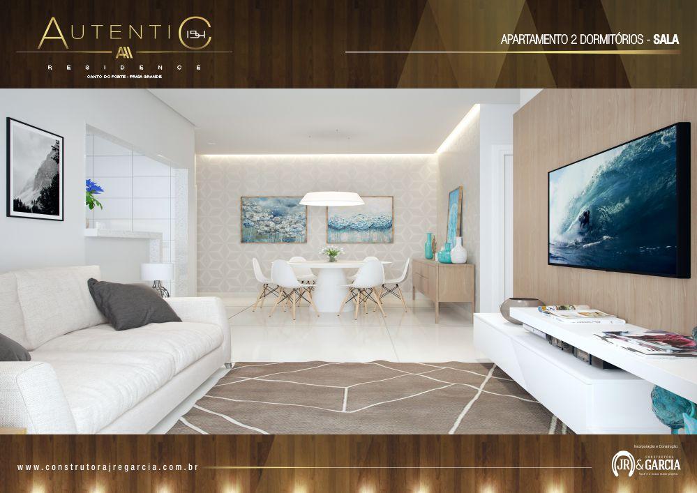 Sala Apartamento 2 Dormitórios - Autentic 154 Residence - Canto do Forte, Praia Grande
