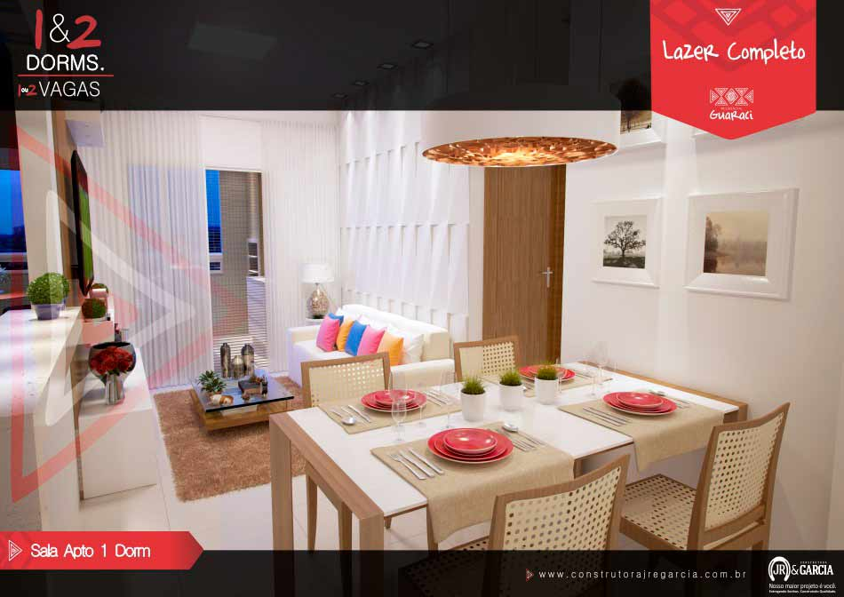 Sala Apartamento 1 Dormitório - Residencial Guaraci - Vila Tupi Praia Grande