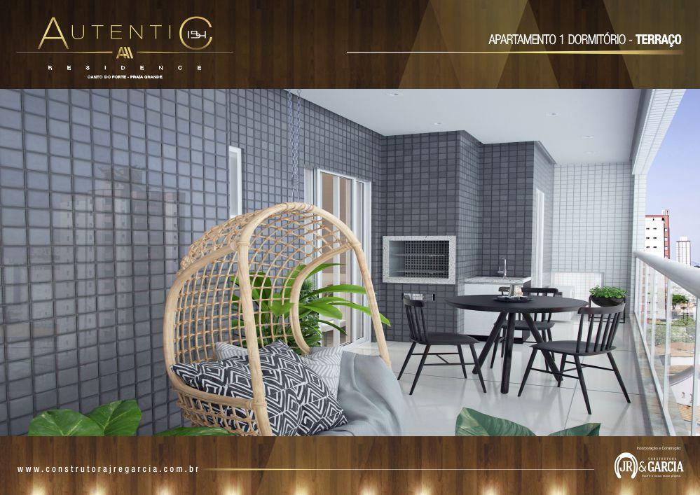 Terraço Apartamento 1 Dormitório - Autentic 154 Residence - Canto do Forte, Praia Grande