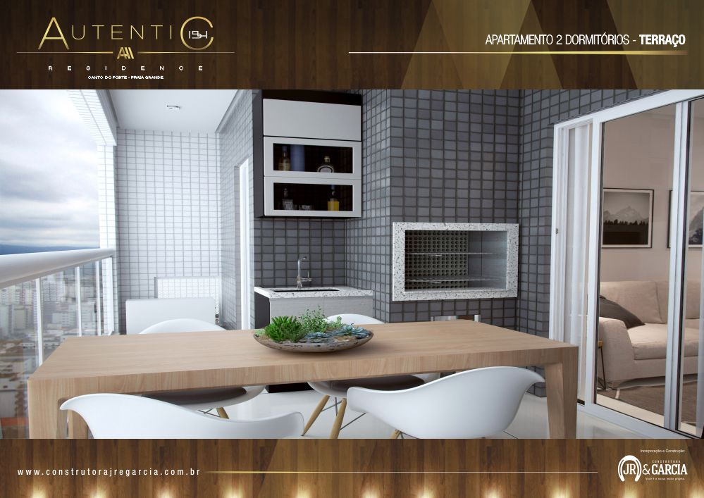Terraço Apartamento 2 Dormitórios - Autentic 154 Residence - Canto do Forte, Praia Grande
