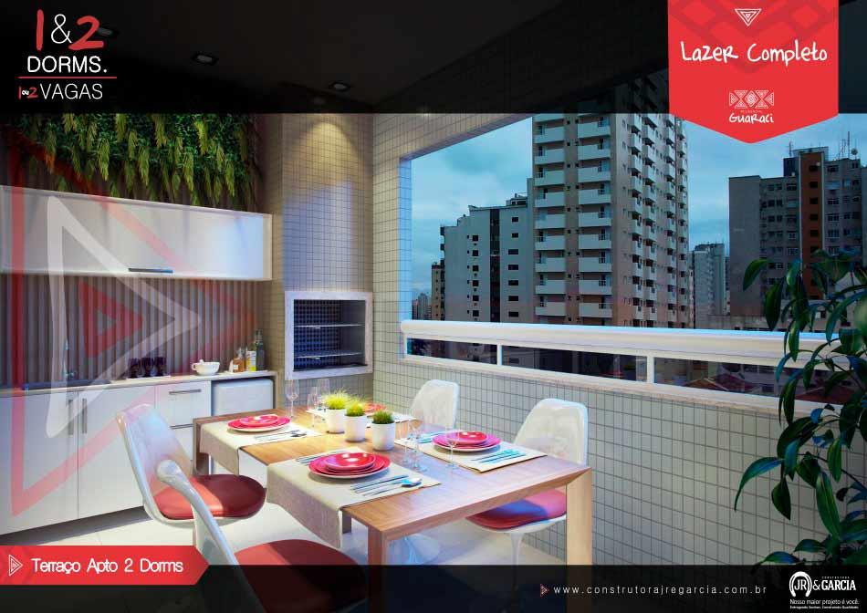 Terraço Apartamento 2 Dormitórios - Residencial Guaraci - Vila Tupi Praia Grande