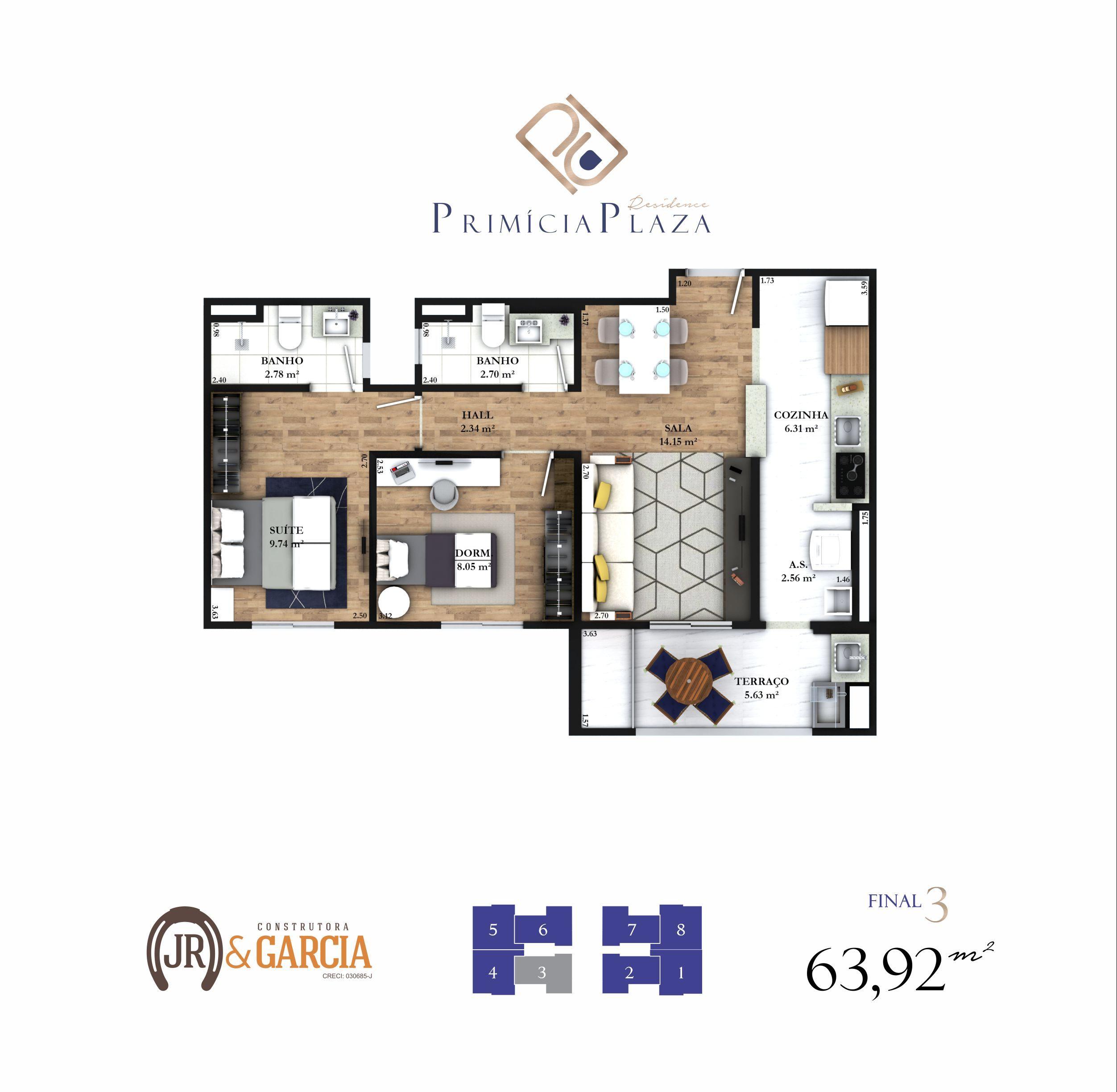 Apartamento 13-193 - 63,00 m² - Residencial Primícia Plaza - Praia Grande SP