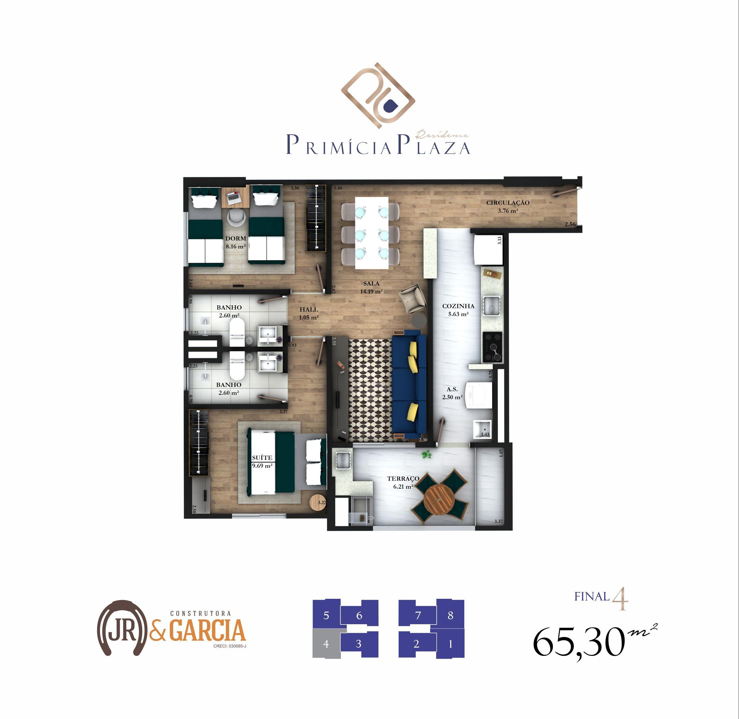 Apartamento 14-194 - 65,00 m² - Residencial Primícia Plaza - Praia Grande SP